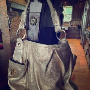 metallic coach purse